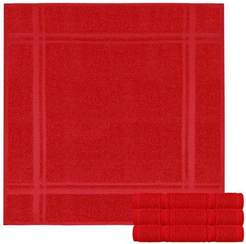 Lashuma 4 er Set Frotteetücher Chili Rot - Geschirrtücher 50 x 50 cm - Saugstarke Abwaschtücher Geschenkidee Hobbykoch
