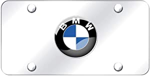 Silver 3D Stainless Steel BMW Emblem License Plate Frame,Decorated License Plates,License Plate Cover for All BMW,Screw Set Included