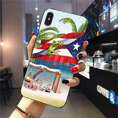 Rocking Giraffe | Compatible with iPhone 11 Case | Tough Groove | Soft TPU Engraved Grooves Phone Case | Shockproof Anti-Scratch | Summer Beach Puerto Rico Flag