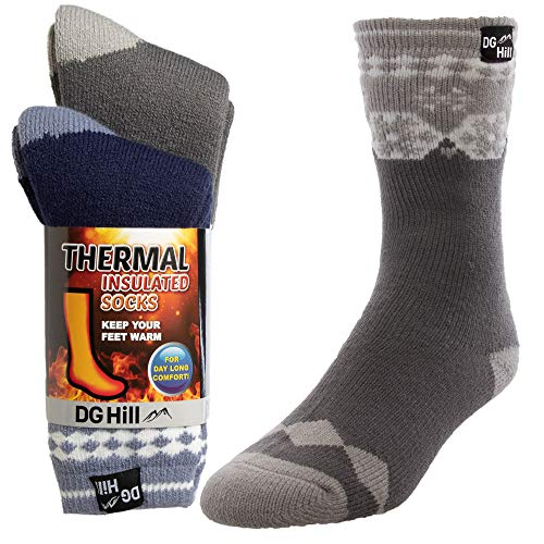 DG Hill (2pk) Mens Thick Heat Trapping Insulated Boot Thermal Socks Pack Warm Winter Crew For Cold Weather