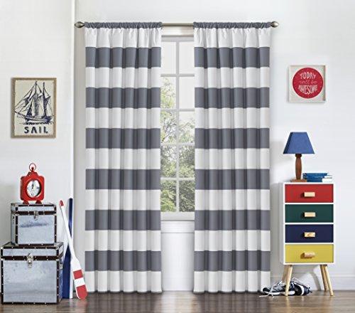 "Eclipse Peabody Window Curtain Panel, 42"" x 84"", Grey"