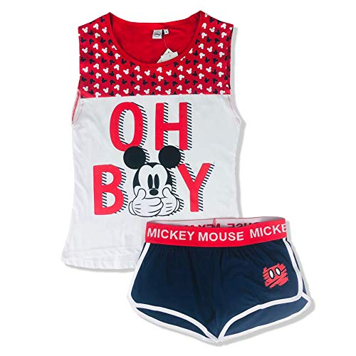 Disney Pyjama court femme Mickey Mouse Débardeur et short en coton 2901 - Rouge - L