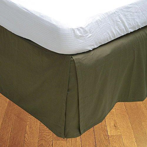 Living & Co 1 jupe de lit plissée (mousse, petit lit double (120 x 180 cm), longueur de chute 35 cm) 100 % coton égyptien véritable de qualité supérieure 300 fils au pouce carré.