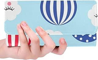 Unique Custom Hot Air Balloons Cute Clouds Women Trifold Wallet Long Purse Credit Card Holder Case Handbag