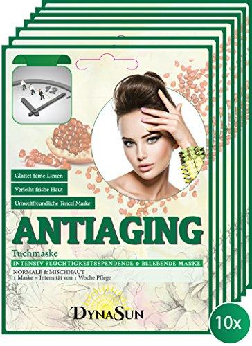 DynaSun Kit 10x Anti Vieillissement Antiaging Masque BTS avec Extrait Intensif de Pomme de Grenade et Sauge Masque Hydratant et Apaisant Kpop pour peau sèche et sensible