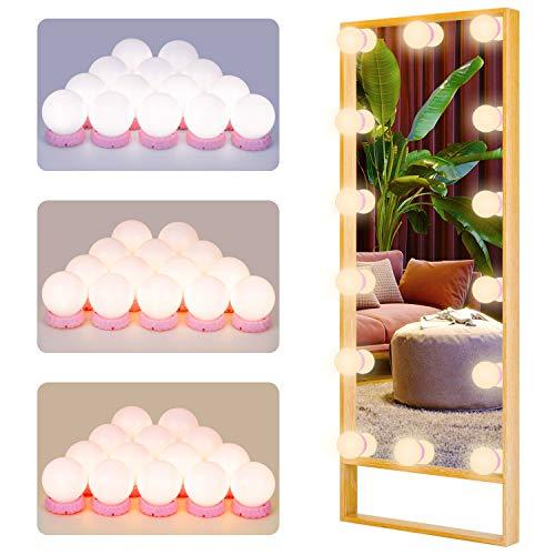 Led Spiegelleuchte POVO Hollywood Stil 14 Dimmbar LED Schminklicht für Kosmetikspiegel Schminktisch Badzimmer Spiegel mit 3 Einstellbarem Farbmodus und 10 Dimmbarer Helligkeit (Rosa)