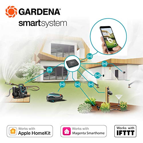 Gardena 19115-28 Smart Sileno Life Set Robotic Lawnmower, Controlled Via Smart App, Quiet, Includes Smart Gateway, UK Power Plug, Up to 1250 sq m