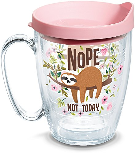 Tervis Sloth Nope Not Today Insulated Tumbler with Wrap and Pink Lid, 16 oz - mug, Clear