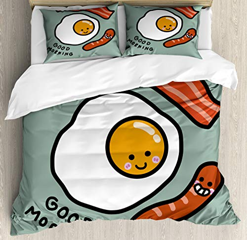 Ambesonne Breakfast Duvet Cover Set, Morning Message Egg Bacon Sausages, Decorative 3 Piece Bedding Set with 2 Pillow Shams, Queen Size, Green Salmon