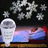 SPEVERT Snowflake Auto Rotating Led Lights Christmas Lights Moving LED Lamp E27 Base 4W Crystal Ball Stage Light for Birthday, Holiday, Wedding, Party, Christmas Decor - White