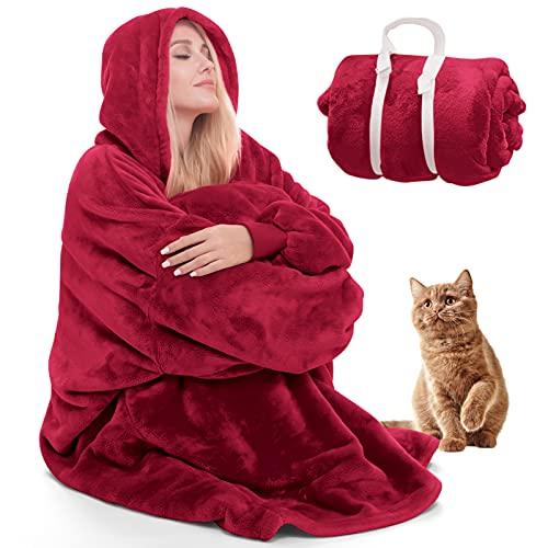 Manta sudadera con capucha para mujer, manta cálida con capucha para mujer, manta de gran tamaño para adultos y ancianos, manta...