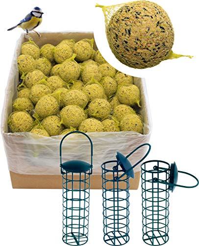 dobar 200 Meisenknödel mit Netz inklusive 3 gratis Meisenknödelhalter zum Aufhängen, Wildvogelfutter Vogelfutter ganzjährig, 1er Pack (1 x 18 kg)