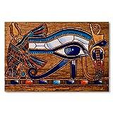 Póster de pared con marco para cocina, dormitorio, decoración del hogar, diseño de papiro egipcio que representa el ojo de Horus, 50 x 75 cm