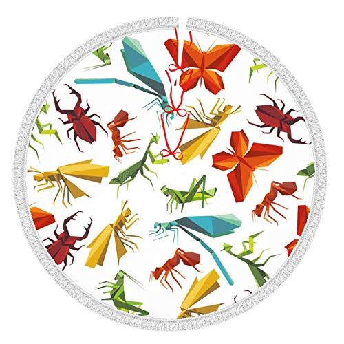 ZVEZVI Papel Origami Insectos Animales Borla de Navidad Falda de árbol, Suministros Divertidos para Fiestas navideñas Decoración de la Cubierta de la Estera del árbol de la Mesa Adornos de decoración