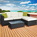 Best Choice Products 5-Piece Modular Wicker Patio Sectional Set w/Glass Tabletop, Removable Cushion Covers - Black