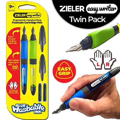2 penne a cartuccia per scrittura manuale ergonomiche di Zieler® Easywriter - per uso con mani destra e mancini - impugnatura morbida in gomma - punta a punta media liscia - 2 cartucce d'inchiostro