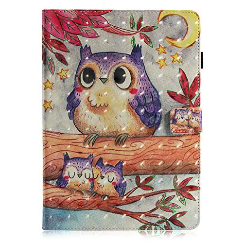 Coopay Lederhülle Glänzend 3D Kunstleder Hüllen Ledertasche Brieftasche Case Etui Ultra Slim Tasche,Standfunktion Schutzhülle,Süß Eule Flip Cover für Samsung Galaxy Tab E 9.6 T560 T561 T565