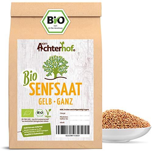 Bio Senfsamen Senfsaat Senfkörner (500g) ganz gelb auch weiß genannt vom-Achterhof ideal zur Senf-Herstellung