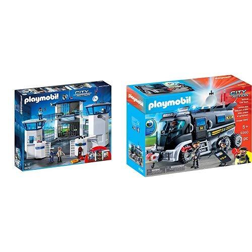 Playmobil 6872 - Polizei-Kommandozentrale mit Gefängnis &  9360 - SEK-Truck mit Licht und Sound Spiel