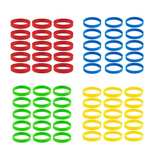 Baoblaze 60 STK Silikon-Armbänder Bracelets Sportarmband Wasserfest Gummiarmband Fitness Armreif Armband