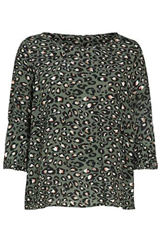 PAPRIKA Damen große Größen Viskose-Bluse mit attraktivem Print Rundhals 3/4 Ärmel
