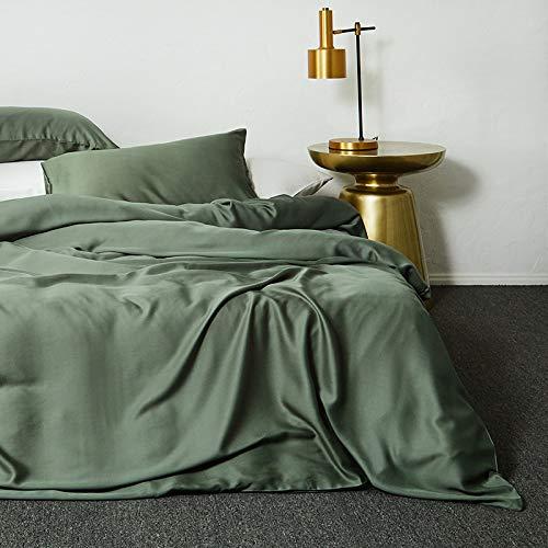 yaonuli New Tencel vierdelig tweepersoonsbed eenpersoonsdekbedovertrek eenvoudige stijl losse groen 2,0 m beddengoed-stijl