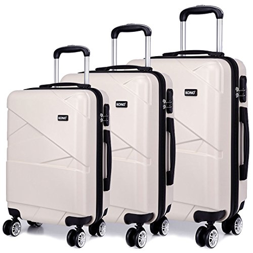 Kono Hardshell Suitcase 4 Wheeled Spinner Luggage Sets of 3 pcs (Set,Beige)