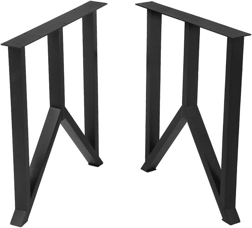 "Metal Table Legs Cast Iron Dining Table Legs,28"" Height 18"" Wide Industrial Bench Legs Black Desk Legs,Rustic Heavy Duty DIY Furniture Legs,Square Tube Coffee Table Legs 2 PCS"
