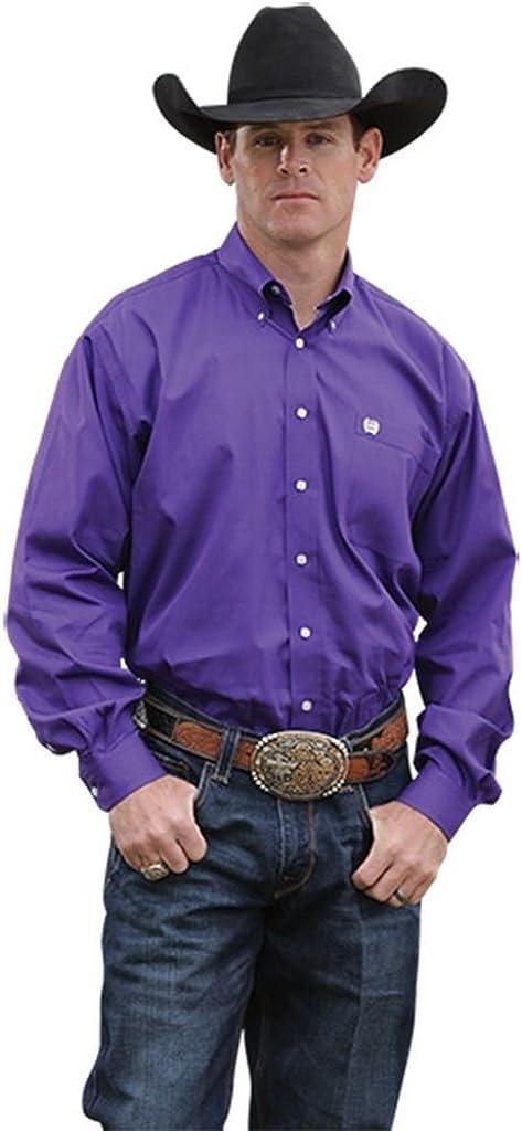 Cinch Men's Solid Purple Button-Down Long Sleeve Western Shirt - Mtw1103802 Pur