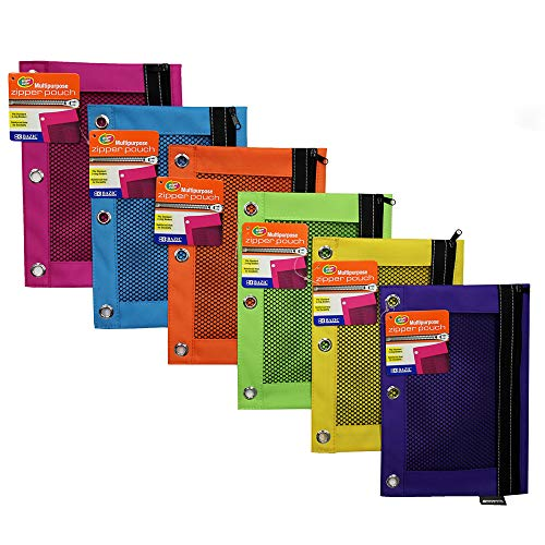 BAZIC Bright Color 3-Ring Pencil Pouch w/ Mesh Window - 24 Pack (804-24)