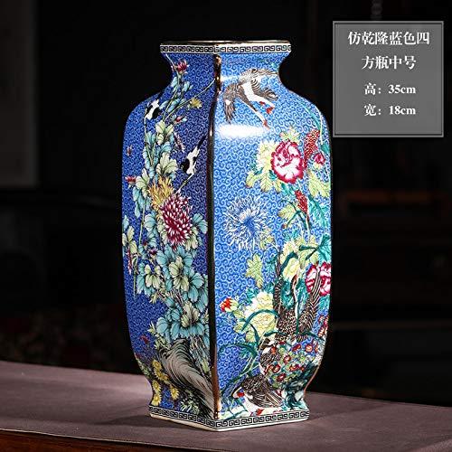 Jingdezhen Keramik Nachahmung Qianlong Gold Vase Blumenschmuck Retro Chinesisches Wohnzimmer Dekoration Handwerk Dekoration Nachahmung Qianlong Blaue Sifang-Flasche medium