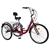 AJ FASHION 7 Speed 3-Wheel Adult Trike Tricycle Cruiser <span class='highlight'>Cycling</span> for Outdoor Sports (Burgundy, 24