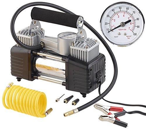 Lescars Minikompressor: Mobiler Luft-Kompressor, Manometer, 12 V, 100 psi, 288 Watt, 3 Adapter (Kompressor 12V)