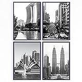 Set de 4 láminas decorativas para enmarcar. Fotos en blanco y negro de viajes por ciudades Asia y Oceanía para los cuadros de tu pared. Posters impresos. Sin marco (21 x 30 cm)