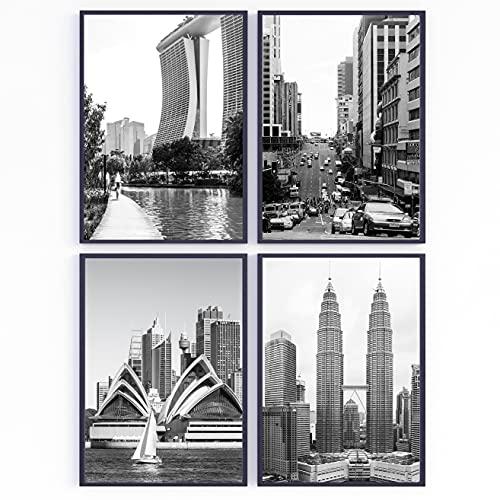 Set de 4 láminas decorativas para enmarcar. Fotos de viaje blanco y negro. Ciudades de Asia y Oceanía para los cuadros de tu pared. Posters impresos. Sin marco (21 x 30 cm)