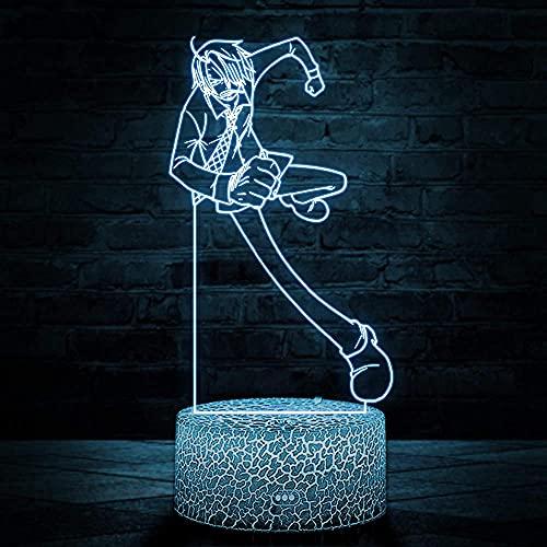 3D LED ilusión lámpara Sanji pequeña lámpara 16 color cambiante lámpara de mesa y para niños niños niñas habitación decoración cumpleaños regalo de Navidad