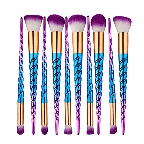 Poignée en spirale Kits pinceaux maquillage Professionnel Fondation Poudre séchage Visage Contour Duveteux Doux Beauté Multifonction Éclairer Surligner Garniture Kabuki Cosmétique Outils Coloré,Blue