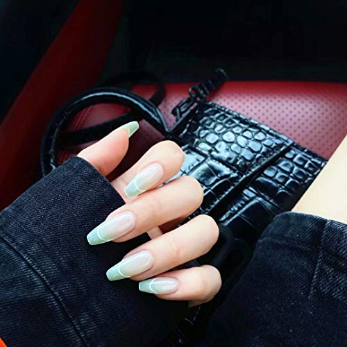 MISUD 24Pcs French Nails Coffin Fake Nails Glossy Gradient Green False Nails with Simple Edge Design Full Cover Acrylic Nails for Women and Girls