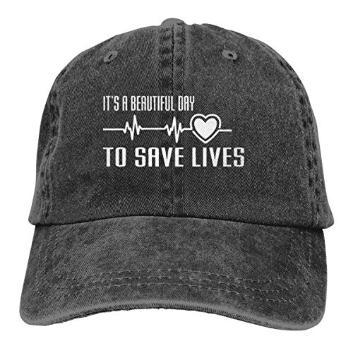 KKAIYA It's A Beautiful Day to Save Lives Classic Vintage Denim Caps Baseball Hats
