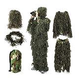 YuanDiann Camouflage 3D Ghillie Suit Tenue De Chasse Affût Militaire Woodland Airsoft Photographie Sniper Adulte Veste Pantalon Chapeau Ensemble De 5 Pièces Taille Moyenne pour 165-180 CM Vert