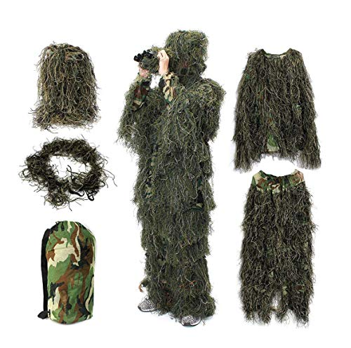 Baijiaye 3D Military Camouflage Forest Hunting Camo Cape Cloak Stealth Ghillie Suit Woodland Hunting Birdwatching Sniper Suit Clothing Green