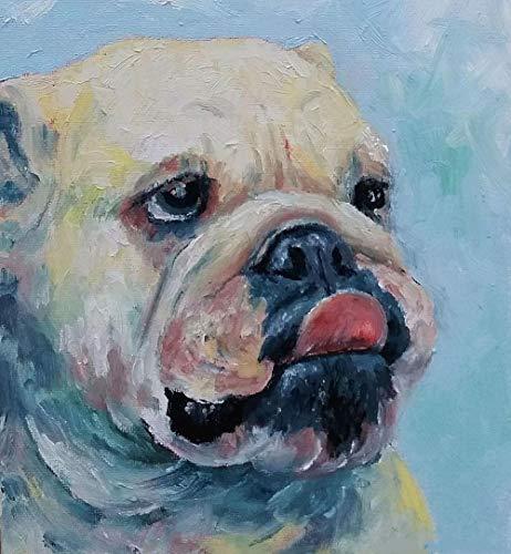 English Bulldog Pet Dog Animal Number Painting Kits DIY Oil Painting Paintworks
