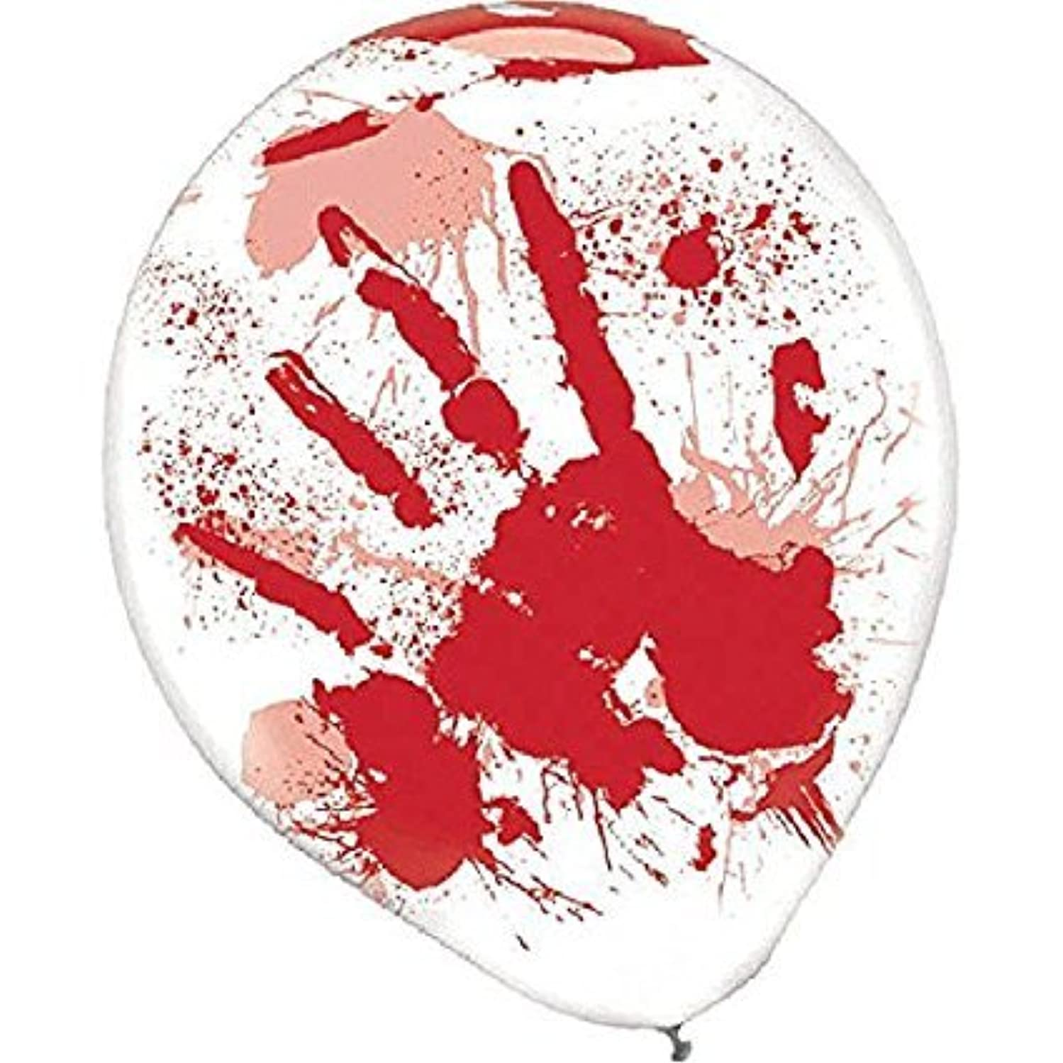 Amscan Blood-Splattered Clear Latex Balloons | 18 Count (Single Pack) | Great for Haunted Asylum Theme, Halloween Party Decoration