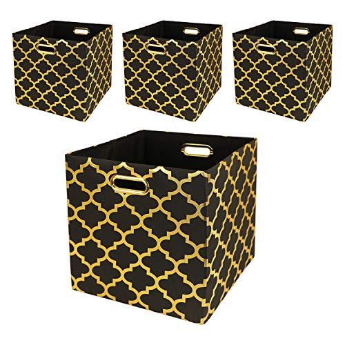 Posprica Cubos de almacenamiento – 11 × 11 cajas de almacenamiento plegables contenedores cajones estantes cestas (juego de 4, linterna negra/dorada)