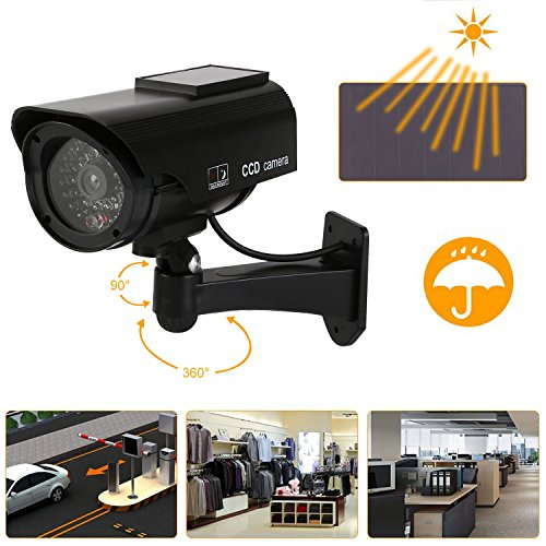NONMON Fake Dummy Dome Camera Homes & Business Security CCTV Cameras with Flashing Red LED Light for Indoor and Outdoor-4 Packs(Black)