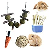 Rabbit Toys 4 in 1.Improve Dental Health. 100% Natural Materials by Handmade.Contains Apple Branches, Licorice Balls, Sweet Bamboo, Wicker Balls and Grass Carrot Toys.Bunny Toys,Rabbit Chew Toys.