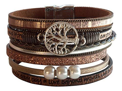 Pulsera bohemia para mujer con árbol de la vida, piel sintética marrón con símbolo de metal y perlas, 7 hebras, 19 x 4 cm, 30 g, alta calidad, moda y espiritual
