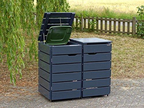 2er Mülltonnenbox / Mülltonnenverkleidung 120 L Holz, Deckend Geölt Anthrazit Grau - 2