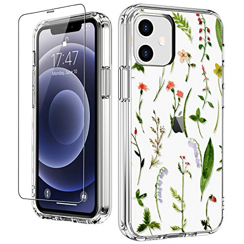 """LUHOURI for iPhone 12 Case,iPhone 12 Pro Case with Screen Protector,Floral Flower Leaves Designs on Crystal Clear Cover for Women Girls,Protective Phone Case for iPhone 12/12 Pro 6.1"""""""