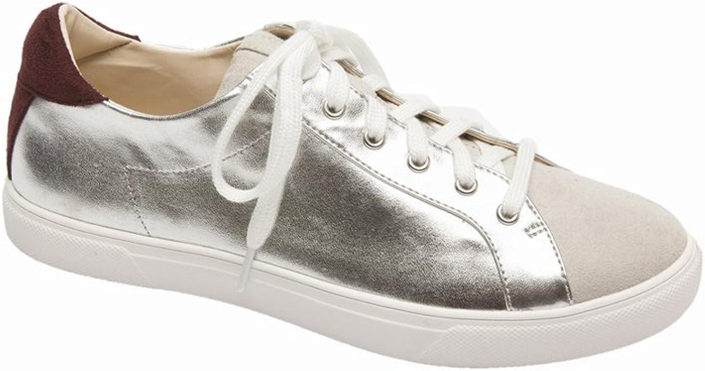 Pic Pay Aryo Women's Sneakers - Lace-Up Metallic Sneaker Silver Metallic PU 6.5M